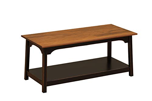Wood Shaker Coffee Table Amish Furniture | Farmhouse Tables Honey Brown Black 2 Tier Shelves | Storage Coffee Tables for Living Room (Black)