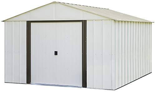Arrow Arlington High Gable Steel Storage Shed, Eggshell/Coffee Trim, 10 x 12 ft.