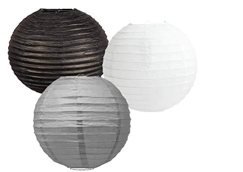 Papierlaternen, verschiedene Farben, 3 Stück, Grauer schwarzer Lampenschirm, 10