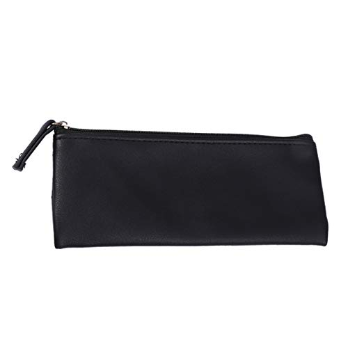 Lurrose Leather PU Pencil Pouch Case Pencil Pouch Bag Zipper Makeup Cosmetic Pouch for Women