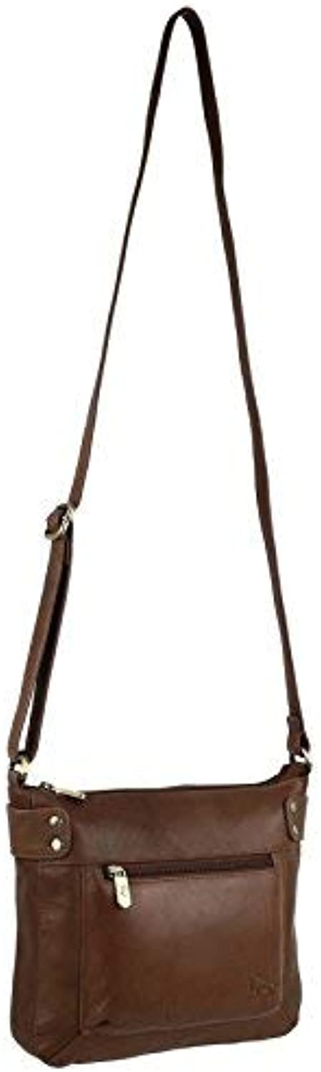 GIGI Women's Leather Small Cross Body Handbag Small Mid Brown Tan