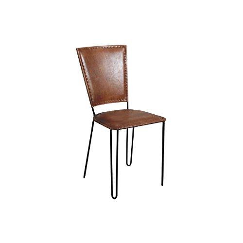 AUBRY GASPARD MCH 1480 C Chaise en Cuir et métal