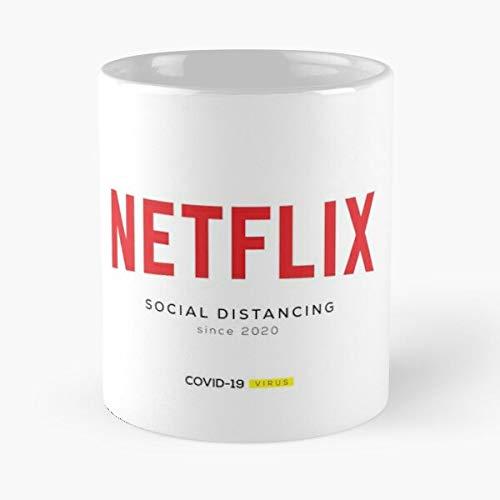 Netflix Social Distancing - Covid-19 Classic Mug Gift The Office 11 Ounces Funny White Coffee Mugs Rafan