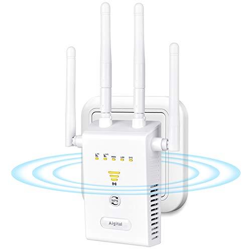 Aigital Repetidor WiFi, Amplificador Señal WiFi 1200Mbps, Extensor de WiFi Doble Banda 2.4GHz y 5GHz, 2 Puertos LAN/WAN, WPS Fácil de configurar, Modo Ap/Repeater/Router, con Compatibilidad Universal
