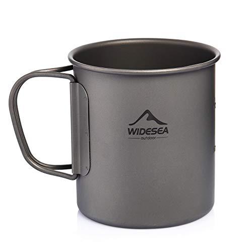 Widesea Ultraleichte Titan-Tasse für Outdoor, Camping, Picknick, Wasserbecher mit klappbarem Griff, 300 ml