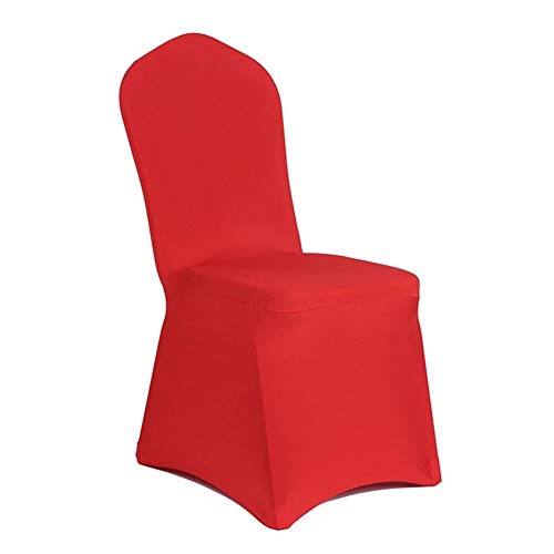 Fundas for sillas Cubierta Estiramiento elástico Spandex poliéster Universal Silla Tela for la Fiesta de Bodas Hotel Agape Comedor Decoración De Restaurante Desmontable Y Lavable (Color : Red)