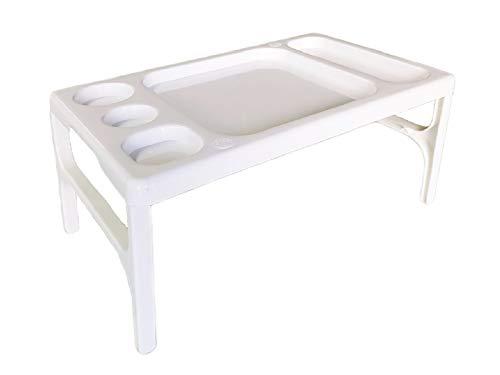 PRATICO -Bianco- Vassoio Tavolino da Letto Multiuso Pieghevole, per Colazione a Letto, Spuntino in Poltrona, Ideale come Leggio per Lettura sul Divano, Supporto Portatile con Gambe Pieghevoli