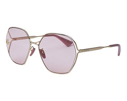 Gucci Occhiali da sole GG0818SA 003 occhiali Donna colore Oro lente rosa taglia 63 mm
