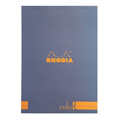 Rhodia 18968C Notizblock elfenbein, liniert, 90 g, DIN A4 210 x 297 mm, 70 Blatt, mikroperforiert, saphirblau