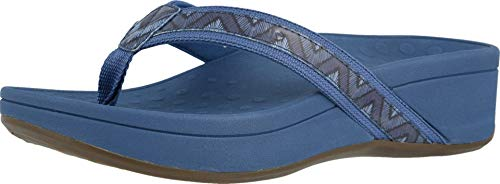 Vionic Women's Pacific High Tide Toepost Sandals – Ladies Platform Flip Flops with Orthotic Arch Support Navy Chevron 11 Medium US