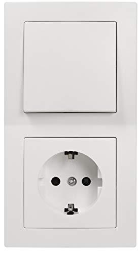 McPower Flair - Steckdosen Set | Tür 2-fach Profi | 3-teilig, Klemmanschluss, weiß, matt