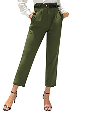 GRACE KARIN Women High Waist Casual Belted Pencil Pants Leather Belt Pants with Pockets Army Green 2XL