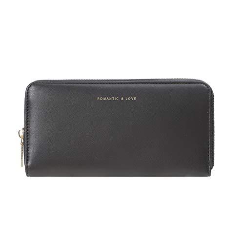 MINISO ロングジップウォレット 大きな財布クラッチ カードスロット付き 電話カードホルダー クラッチ容量ポケット ガールズ レディース ブラック