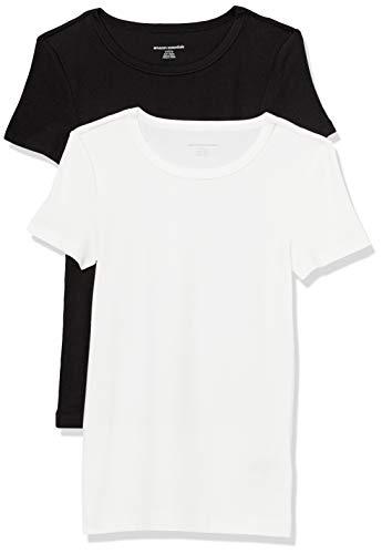 Amazon Essentials Women's 2-Pack Slim-Fit Short-Sleeve Crewneck T-Shirt, Black/White, Medium