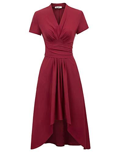 Retro Kleid a Linie v Ausschnitt Kleid Damen 50s Kleid a Linie trägerkleider Fashion Kleid CL1073-2 S