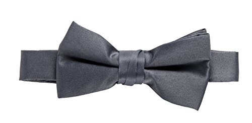 Sportoli Kids and Baby Adjustable Solid Color Banded Satin Pre-tied Tux Bow Tie - Charcoal