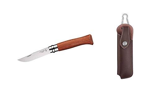 Opinel Luxus Messer, Größe 8, Padouk-Holz +Wunschgravur, mit Kunstleder-Etui