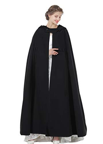 BEAUTELICATE Hooded Cloak Wedding Cape for Women Bridal Winter Robe Wool Blend Full Length Halloween Costume Christmas Black