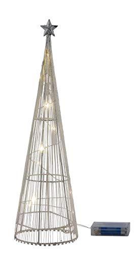 Miss Lovely - Conique de lumière - Moderne - Sapin de Noël - Pyramide - Éclairage LED Blanc et doré - Paillettes Scintillantes - Décoration de Noël - Cadeau de Noël pour l'hiver