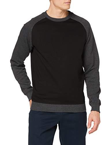 Urban Classics 2-Tone Raglan Crewneck Sweat-Shirt, Multicolore (blk/cha 445), Large Homme