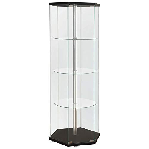 BOWERY HILL Hexagonal 4 Shelf Glass Curio Cabinet Display Case in Black and Chrome
