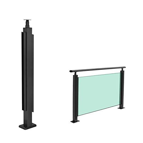 JHXLJ Schwarz Treppengeländerpfosten/Edelstahl Balkongeländer Pfosten/Spann gehärtetem Glas Geländer Pfosten/for Innentreppen, Eingänge von außen, usw. (Size : 850mm)
