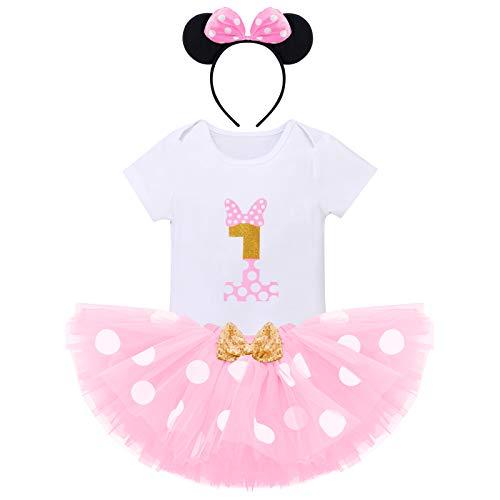 FYMNSI Recién Nacida Bebé Niñas Primer Cumpleaños Trajes Conjuntos Disfraz De Minnie Princesa Vestido Tutu Manga Corta Mameluco Lunares Falda Oído Diadema 3 Piezas Set Rosa 1 año
