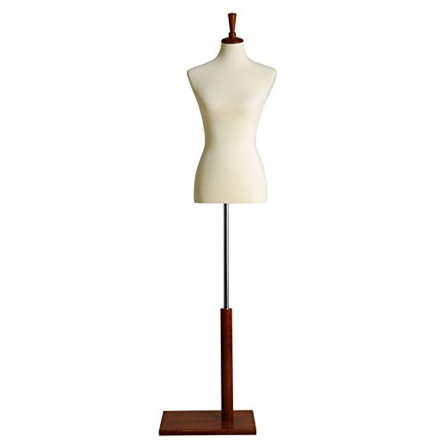 SONGMICS Female Mannequin Torso Body Dress Form with Tripod Stand, Medium Size 6-8, 34' 26' 35', Non-Straight Pinnable, Adjustable Height, for Dress Clothing Display Beige UMDF03BE