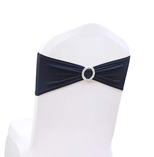 100PCS Stretch Wedding Chair Bands With Buckle Slider Sashes Bow Decorations 10 Colors (Navy Blue)
