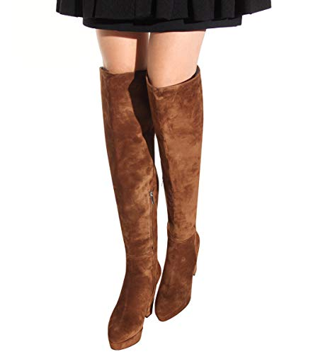 YOWAX Botas de Las Mujeres de la Rodilla de tacón Alto Botas largas de Plataforma, además de Terciopelo Impermeable otoño e Invierno, Brown-EU36