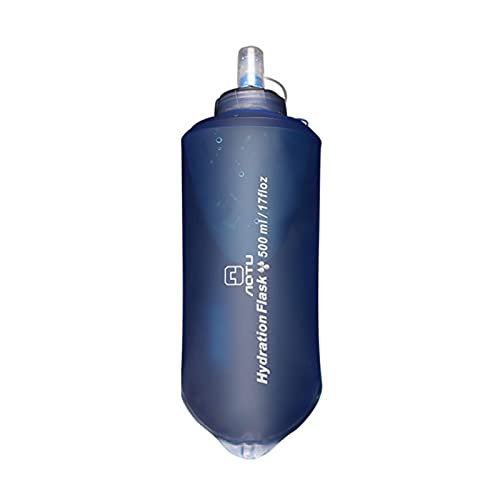 Botella de agua plegable de 1 l, botella de agua portátil, botella de agua suave, botella deportiva a prueba de fugas, para senderismo, trekking, montañismo