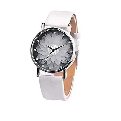 nJiaMe Reloj de Las Mujeres Correa de Cuero Reloj de Pulsera de Cuarzo con diseño de Flores Regalos esferas Blancas