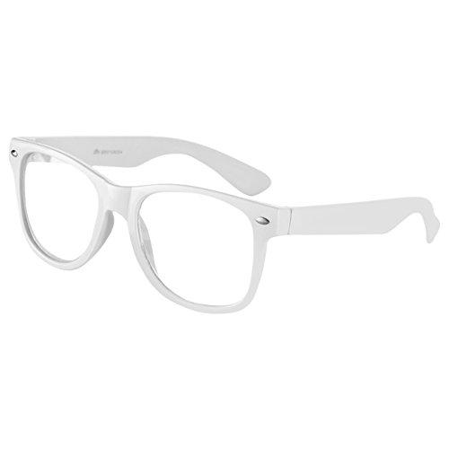Ciffre Sonnenbrille Nerdbrille Nerd Retro Look Brille Pilotenbrille Vintage Look - ca. 80 verschiedene Modelle Weiß Klar Glas