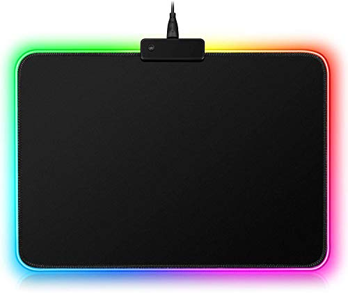 S & E TEACHER S EDITION Gaming Mouse Pad, Soft LED Light Mouse Pad, Black Premium-Textured Mouse Mat, with 8 Lighting Modes, 10 x 12 Inch, Christmas