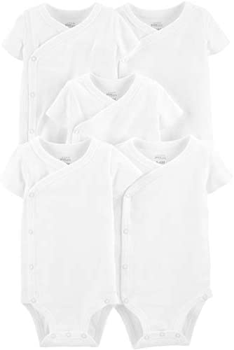 Simple Joys by Carter s Baby 5 Pack Short Sleeve Side Snap Bodysuit White Preemie product image