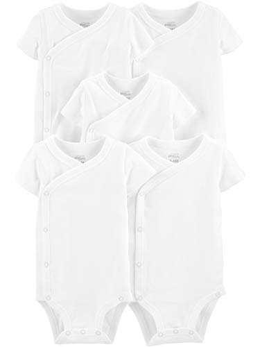 Simple Joys by Carter's Baby 5-Pack Short Sleeve Side Snap Bodysuit, White, Newborn