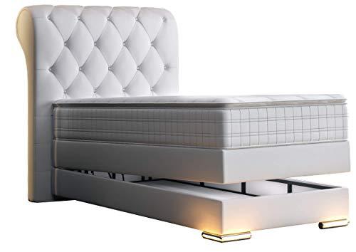 HG Royal Estates GmbH Baron Chesterfield Boxspringbett mit Bettkasten Weiß Kunstleder Größe 100 x 200 cm