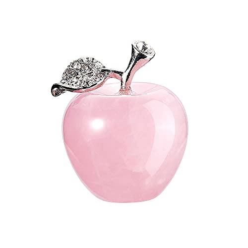 JSDDE Piedras preciosas naturales de manzana, decoración de cuarzo rosa, figura de...