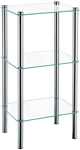 Kela 18100, Regal, 3 Etagen, Metall/ Sicherheitsglas, 40x 30x 76 cm, Lars, Verchromt