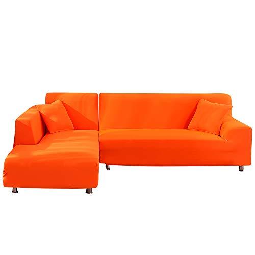 HIFUAR Funda Elástica de Sofá Chaise Longue Brazo Largo Izquierdo,Funda Cubre Sofá Chaise Longue Protector para Sofás Acolchado Diseñada de Forma L 2 Piezas(Naranja,1 Plaza+ 1 Plaza)