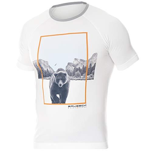 BRUBECK Running Shirt Herren | Kurzarm Funktionsshirt für Männer Jungen | Laufshirt atmungsaktiv | Sportshirt Seamless | T-Shirt | weißes Kurzarmshirt nahtlos | Weiss | Gr. M | SS13240A