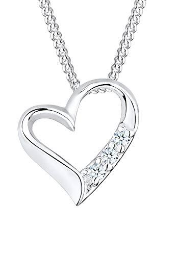 DIAMORE Halskette Damen mit Herz Anhänger Ewigkeit mit Diamant (0.06 ct.) in 925 Sterling Silber