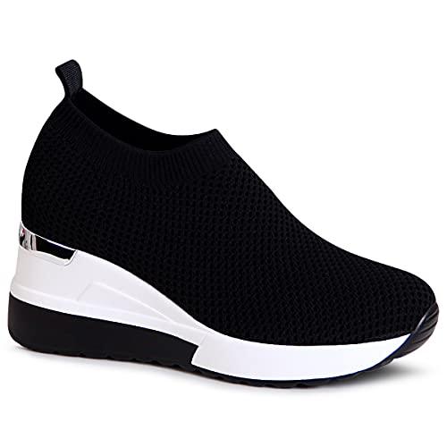 topschuhe24 Mujer Zapatillas de cuña, Color:Negro, Número de Zapato:39 EU