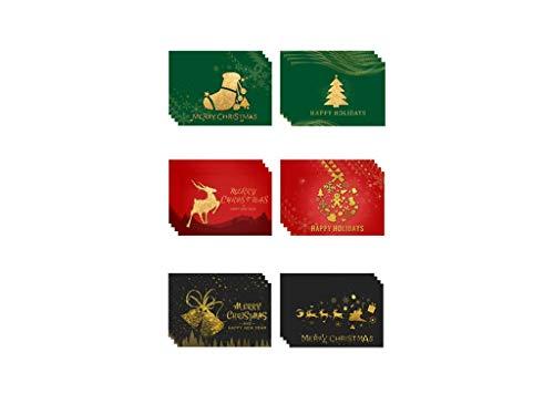 24 pics Cartes de Noël avec enveloppes et autocollants Cartes de Noël Cartes pliantes Belles cartes postales de Noël pour les voeux de Noël à la famille, aux amis, aux clients, aux enfants