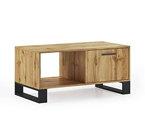 Skraut Home - Table Basse avec Portes, Salon, modèle LOFT, Couleur de la Structure et Portes en chêne Rustique, Mesure 92x50x45cm de Haut.