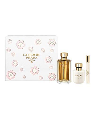 Prada La Femme 3 Piece Set For Women (3.4 Ounce Eau De Parfum Spray + 3.4 Ounce Body Lotion + 0.34 Ounce Eau de Parfum Spray Rollon), multi color