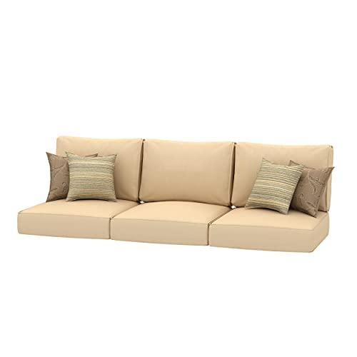 Creative Living Sofa Outdoor Deep Seating Refresh Patio 24x24 Replacement Cushions with Decorative Pillows, Beige Mix