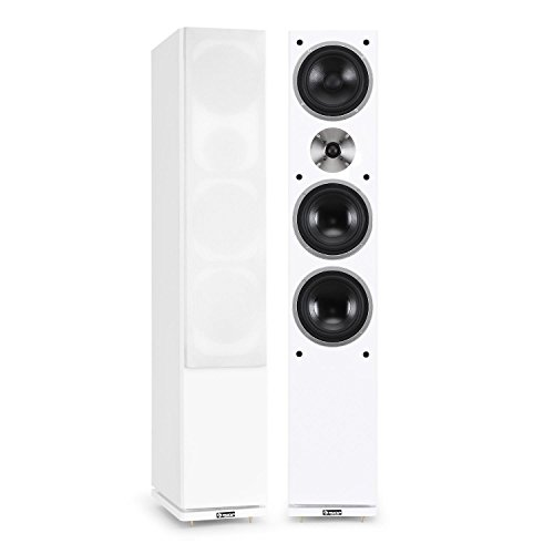 auna - Linie-600-WH, Standlautsprecher, Standboxen, HiFi-Lautsprecher, Lautsprecher-Boxen, 3-Wege, 140 Watt RMS, Dual-Bassreflex-BAU, passiv, Holzgehäuse, weiß