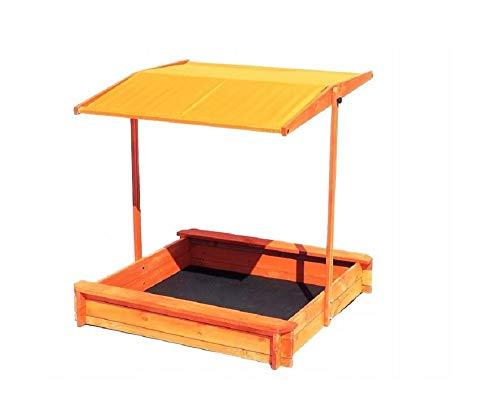 QLS SANDKASTEN MIT Dach SANDKISTE SPIELHAUS Sandbox AUS Holz SITZBÄNKE 120 X 120 cm (Orange)