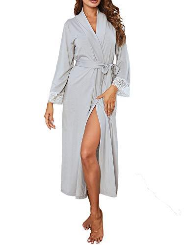 Albornoz para mujer, con cuello en V, ligero, de manga larga, kimono, ropa de dormir